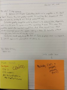 Fifth grade writing with comment from peers