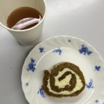 Pumpkin roll and hot spiced fruit drink