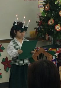 First grader in Christmas Around the World